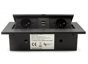Moduł elektryczny USB - 2 gniazda + 2 x USB, aluminiowy, wpuszczany + przewód