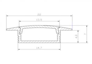 Profil wpuszczany LED 01 - aluminiowy wraz z kloszem 2m/3m