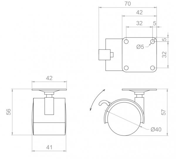 Kółko skrętne  Φ40 z hamulcem, montaż na płytce