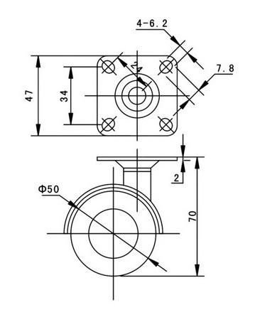 Kółko skrętne Φ50, ozdobne, wzmocnione, z hamulcem, montaż na płytce