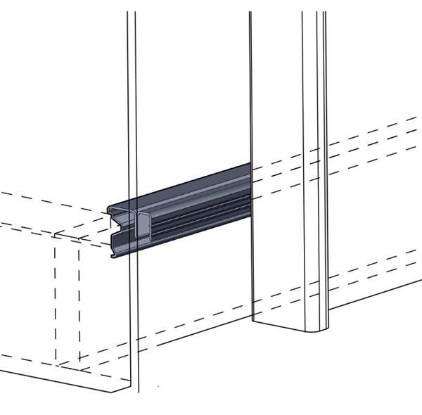 System do drzwi przesuwnych, ciężar do 35kg, grubość drzwi 15-19mm. Tor dolny montowany przed wieńcem dolnym.