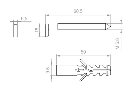 Zawieszka kuchenna - hak/ kołek wysoki 15mm
