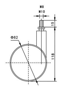 Kółko skrętne Φ82mm, ozdobne, montaż trzpień M8/M10
