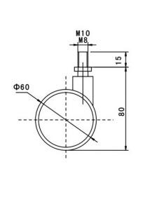 Kółko skrętne Φ60mm, ozdobne, z hamulcem, montaż na trzpieniu