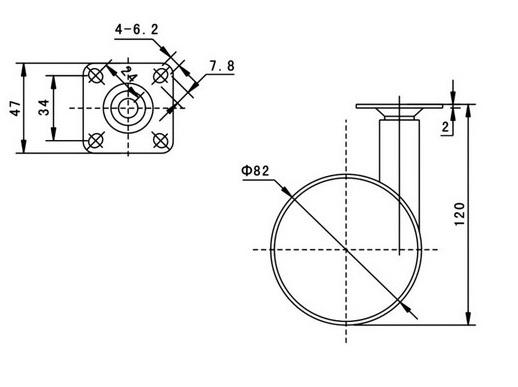 Kółko skrętne Φ82mm, ozdobne, montaż płytka