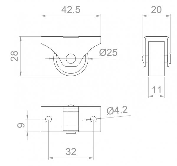 Rolka Φ 25x29mm gumowana, montaż górny