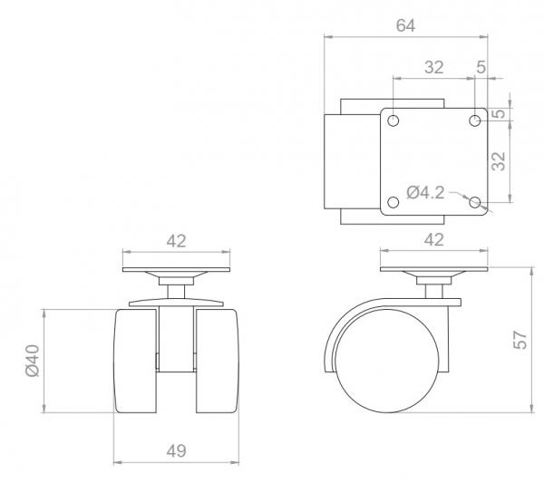 Kółko skrętne wzmocnione  Φ40 bez hamulca, montaż na płytce