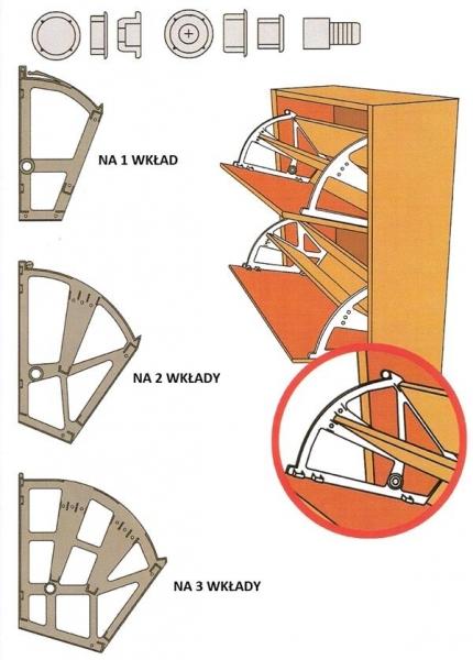 Zawias jednorzędowy półki na buty