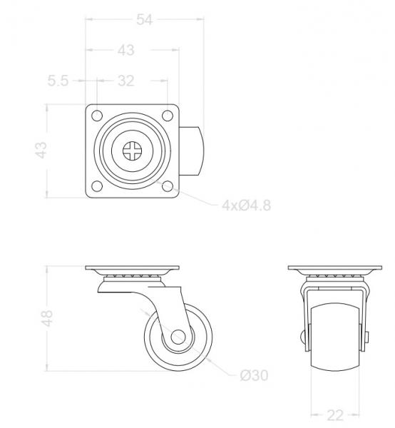 Rolka Φ 30mm twarda, obrotowa z płytką.