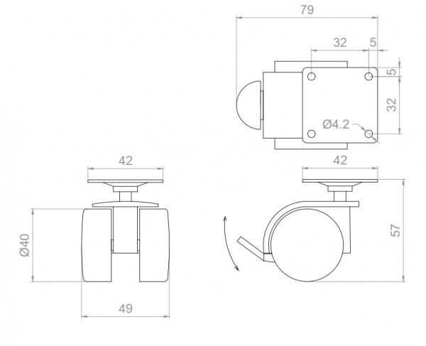 Kółko skrętne wzmocnione  Φ40mm z hamulcem, montaż na płytce