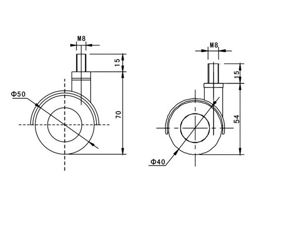 Kółko skrętne Φ50, ozdobne, wzmocnione, z hamulcem, montaż na śrubie M8