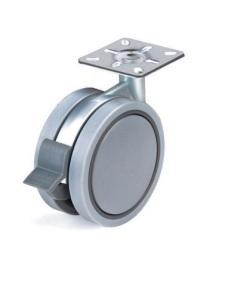 Kółko skrętne Φ100mm, ozdobne, montaż płytka, z hamulcem, kolor szary