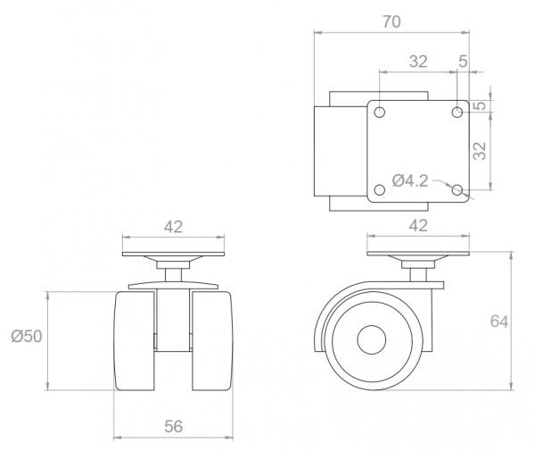 Kółko skrętne Φ50, gumowane, wzmocnione, bez hamulca, montaż na płytce