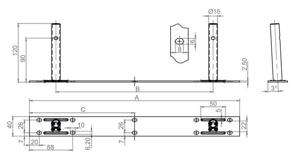Podpórka półki podwójna Φ16x120mm z płytką