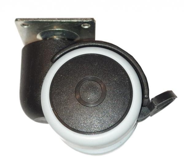 Kółko skrętne Φ50, gumowane, wzmocnione, z hamulcem, montaż na płytce