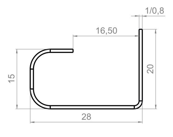Uchwyt do drzwi przesuwnych, półokrągły, H=28mm