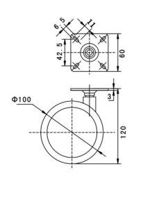 Kółko skrętne Φ100mm, ozdobne, montaż płytka, bez hamulca, kolor szary