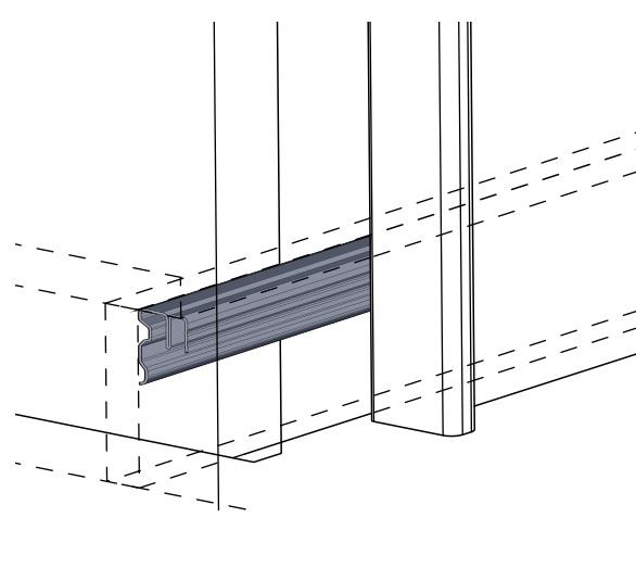 System do drzwi przesuwnych, ciężar do 50kg, grubość drzwi 15-19mm. Tor dolny montowany POD wieńcem dolnym.
